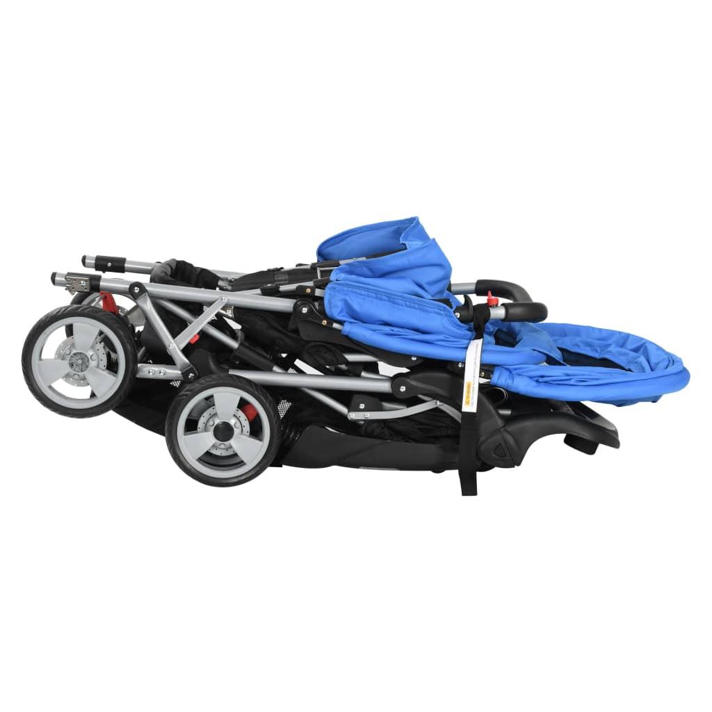 Tandemový kočárek ocelový modro-černý