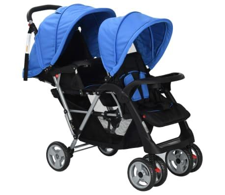 vidaXL Dubbele kinderwagen staal blauw en zwart[2/8]