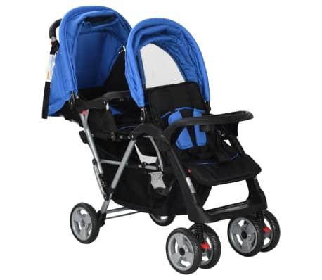 vidaXL Vaikiškas dvivietis vežimėlis, plienas, mėlynas/juodas[3/8]