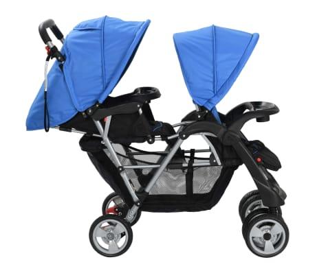 vidaXL Vaikiškas dvivietis vežimėlis, plienas, mėlynas/juodas[4/8]