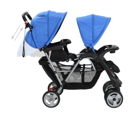 vidaXL Vaikiškas dvivietis vežimėlis, plienas, mėlynas/juodas[5/8]