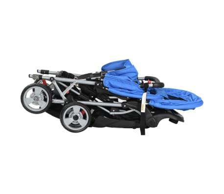 vidaXL Dubbele kinderwagen staal blauw en zwart[6/8]