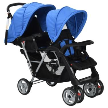 vidaXL Vaikiškas dvivietis vežimėlis, plienas, mėlynas/juodas[2/8]
