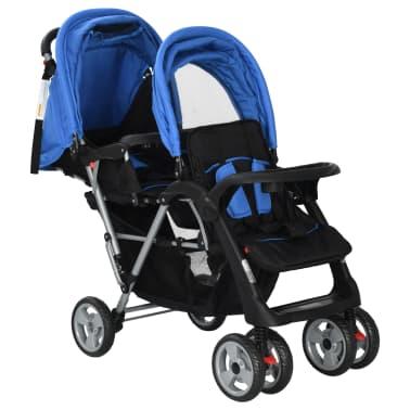 vidaXL Dubbele kinderwagen staal blauw en zwart[3/8]