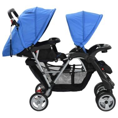 vidaXL Dubbele kinderwagen staal blauw en zwart[4/8]