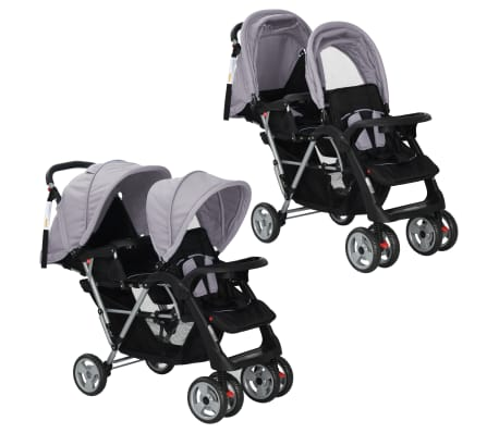 vidaXL Tandem Stroller Steel Grey and Black