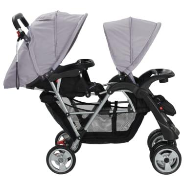 vidaXL Vaikiškas dvivietis vežimėlis, plienas, pilkas/juodas[4/8]