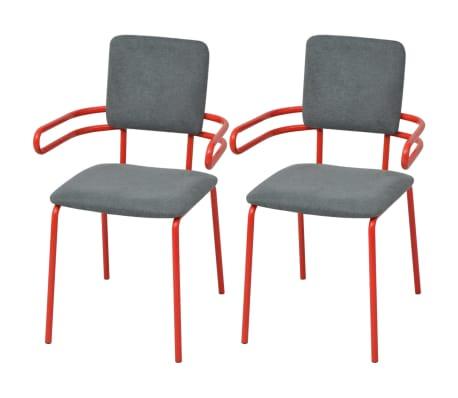 vidaXL Esszimmerstühle 2 Stk. Rot und Grau Stoff