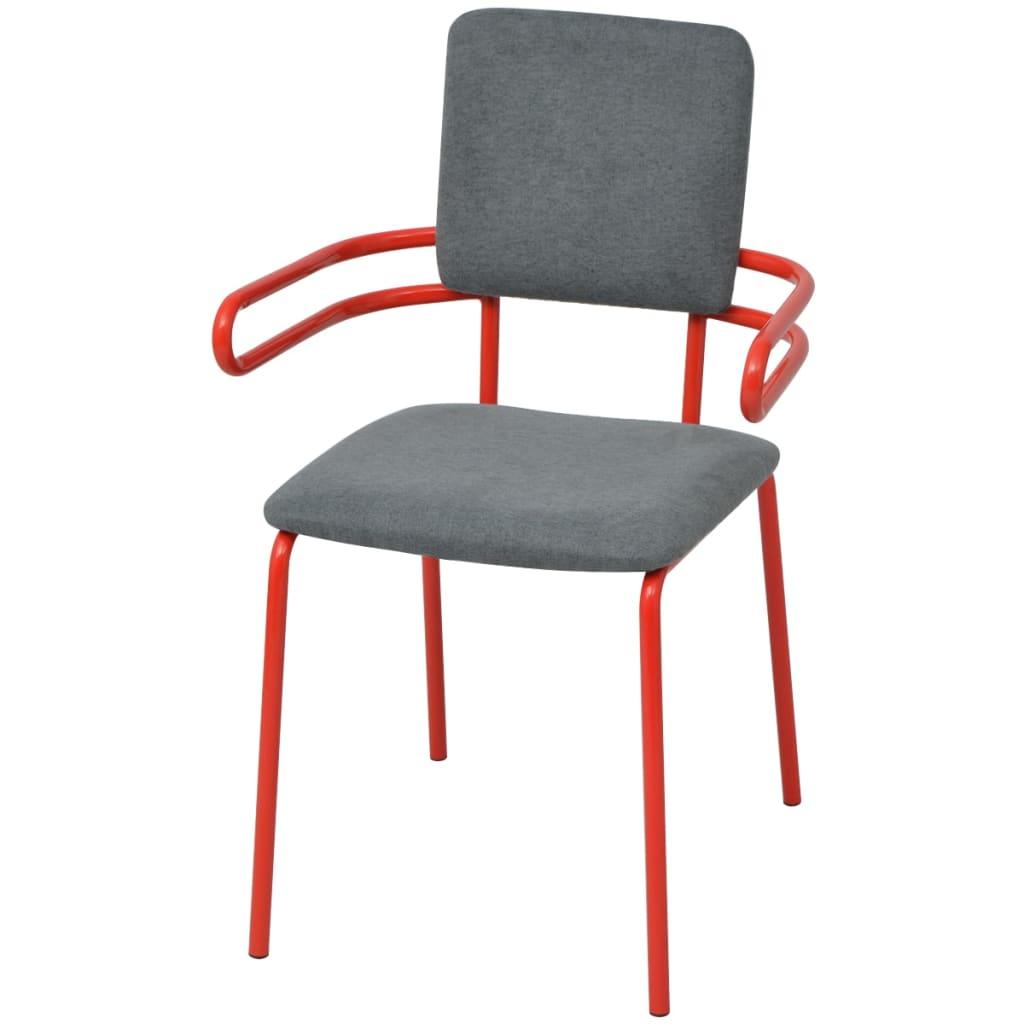 vidaXL Stoel met armleuning rood/grijs 2 st
