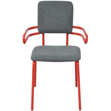 vidaXL Esszimmerstühle 2 Stk. Rot und Grau Stoff |