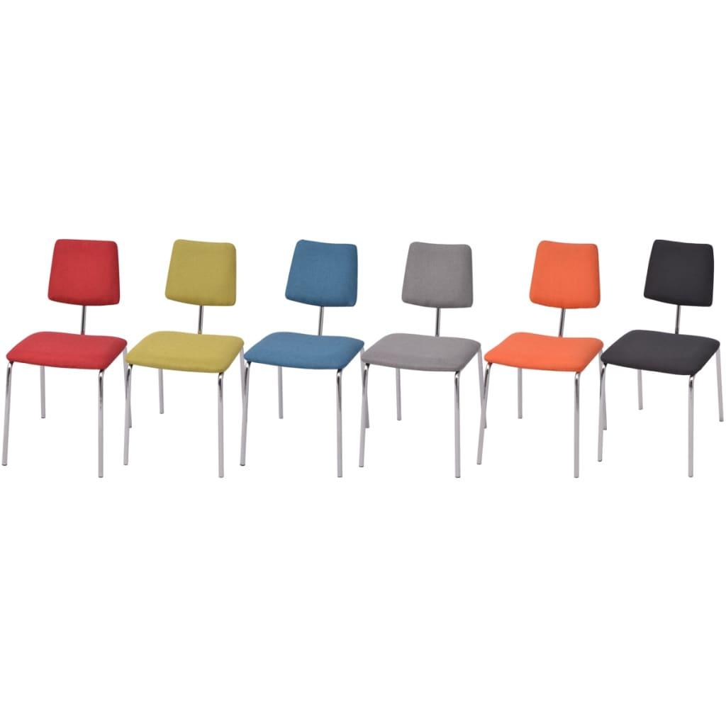 vidaXL Šestidílný set jídelních židlí, textilní čalounění, vícebarevný