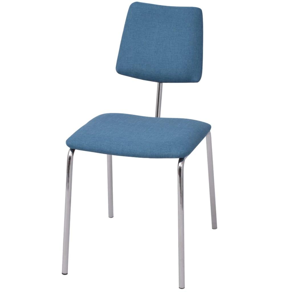vidaXL Jídelní židle modrá textilní