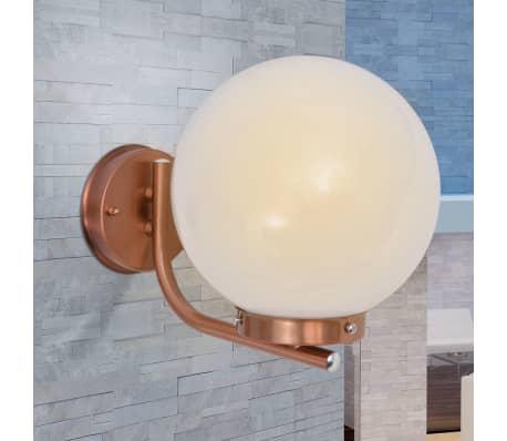 acheter vidaxl applique murale ext rieure sph rique acier inoxydable et cuivre pas cher. Black Bedroom Furniture Sets. Home Design Ideas