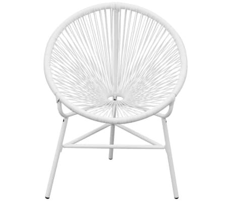 Vidaxl Owalne Krzesło Ogrodowe Polirattan Białe