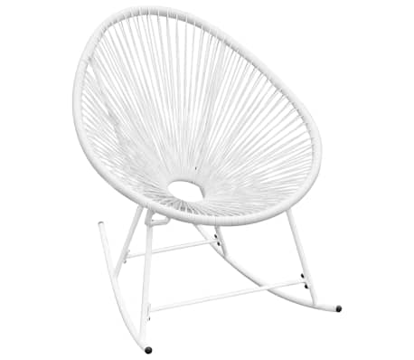 vidaXL Outdoor Rocking Chair White Poly Rattan