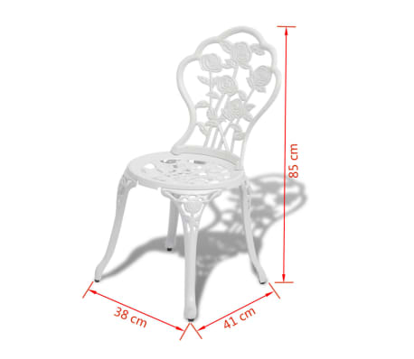 vidaXL Set da Bistrot 3 pz in Alluminio Pressofuso Bianco[8/9]