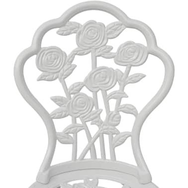 vidaXL Set da Bistrot 3 pz in Alluminio Pressofuso Bianco[6/9]