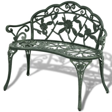 vidaXL Záhradná lavička 100 cm, odlievaný hliník, zelená[1/4]
