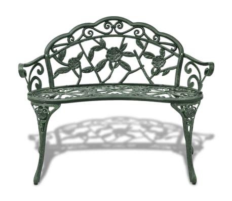 vidaXL Záhradná lavička 100 cm, odlievaný hliník, zelená[2/4]