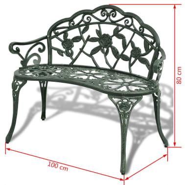 vidaXL Záhradná lavička 100 cm, odlievaný hliník, zelená[4/4]