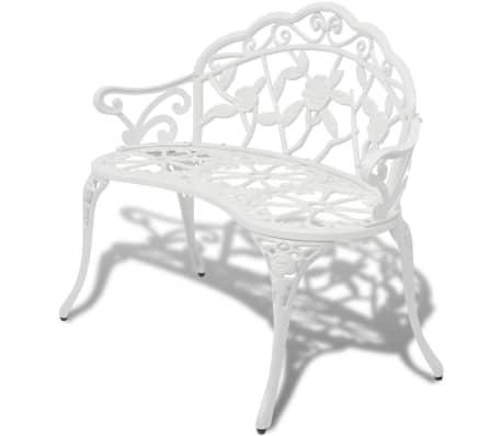 "vidaXL Garden Bench 39.4"" Cast Aluminium White[1/4]"