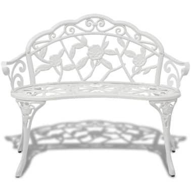 "vidaXL Garden Bench 39.4"" Cast Aluminium White[2/4]"