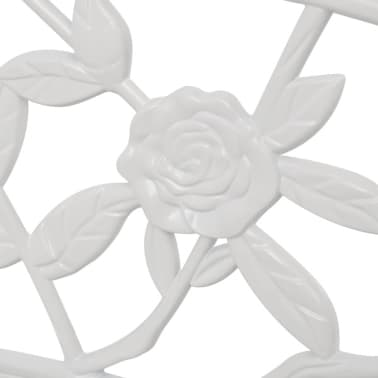 vidaXL Bancă de grădină, mulaj din aluminiu, alb[3/4]