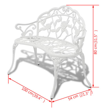"vidaXL Garden Bench 39.4"" Cast Aluminium White[4/4]"
