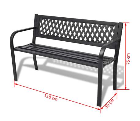 vidaXL Banc de jardin 118 cm Acier Noir[4/4]
