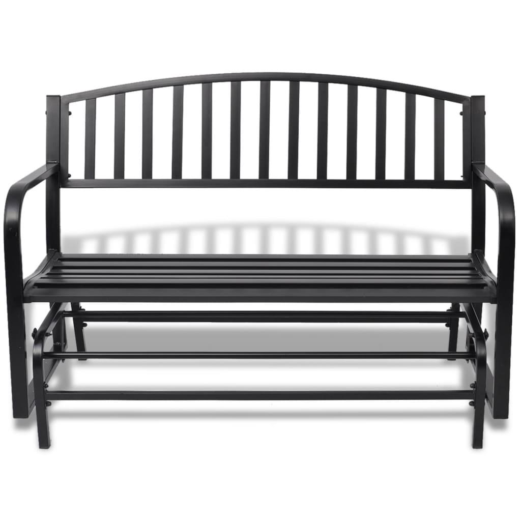 vidaXL Schommelbank zwart staal