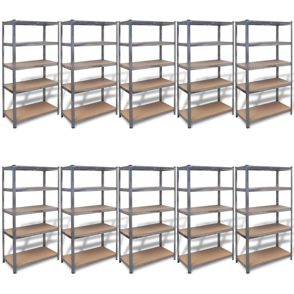 vidaXL Rafturi de depozitare din oțel 90x45x180 cm, 10 buc. vidaxl.ro