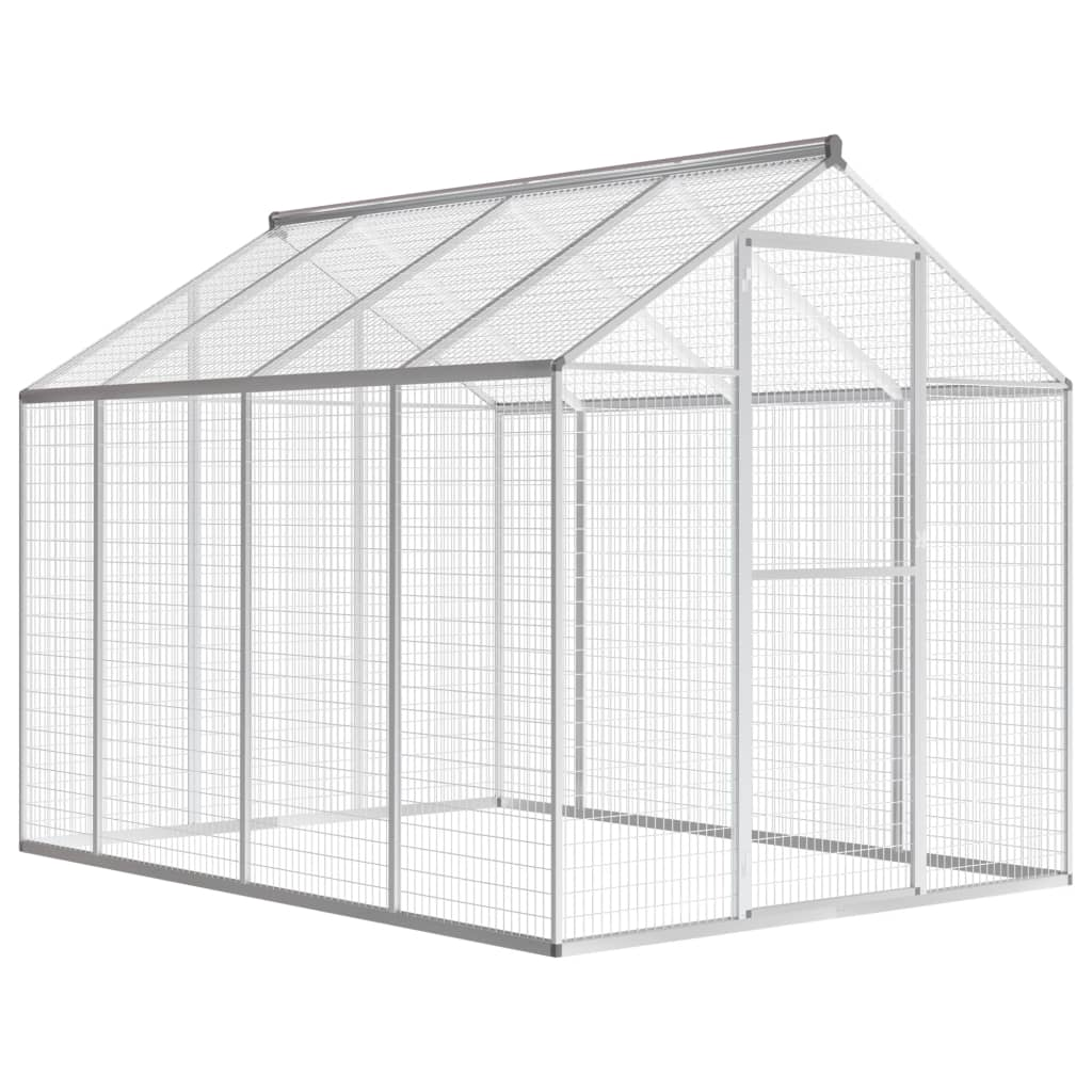 vidaXL Coteț pentru păsări de exterior, aluminiu, 178 x 242 x 192 cm poza vidaxl.ro