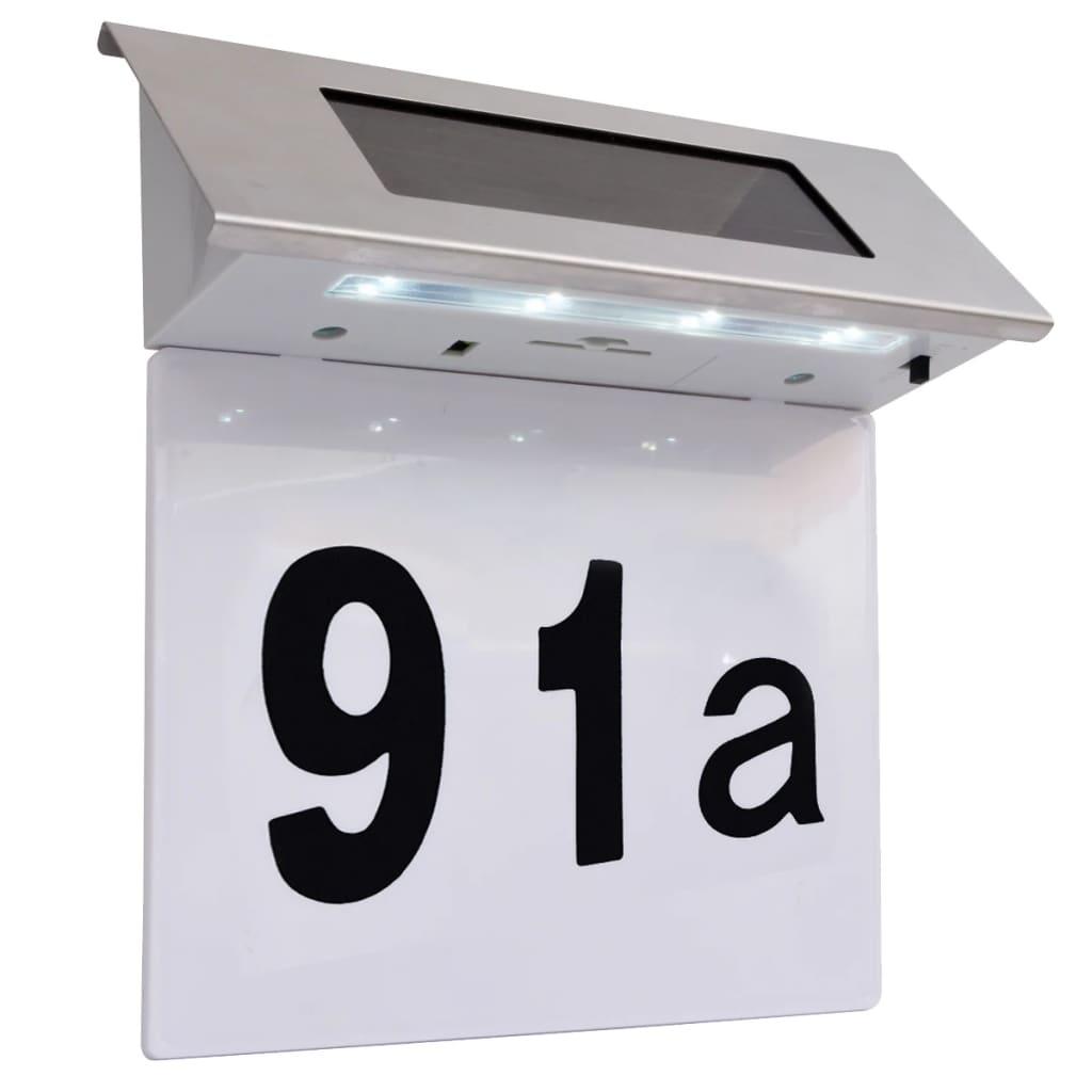 vidaXL LED huisnummer op zonne-energie roestvrij staal
