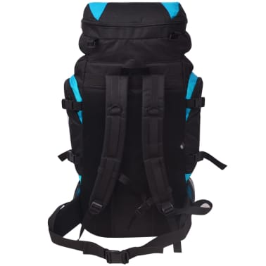 vidaXL Hiking Backpack XXL 75 L Black and Blue[4/7]