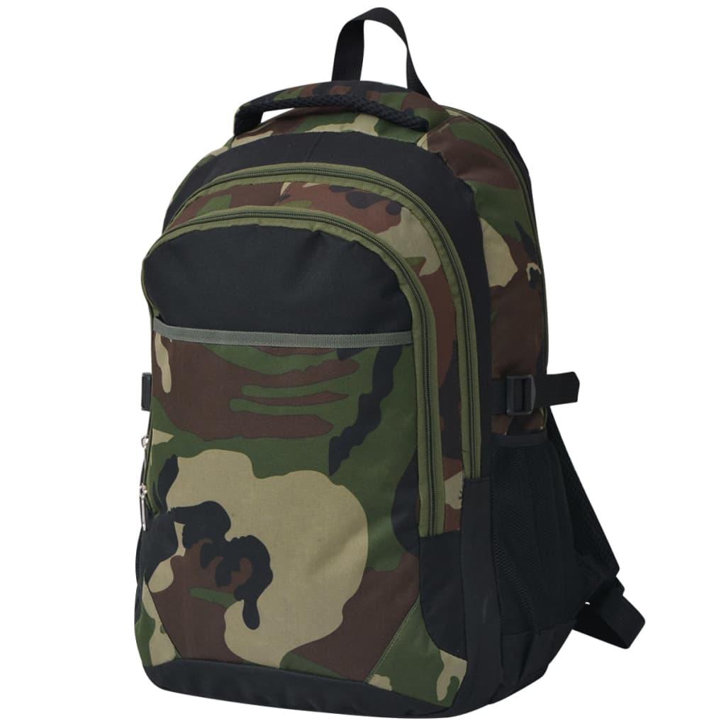 vidaXL Školní batoh 40 l černý a maskáčový