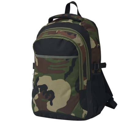 vidaXL School Backpack 40 L Black and Camouflage[1/9]