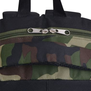 vidaXL School Backpack 40 L Black and Camouflage[5/9]