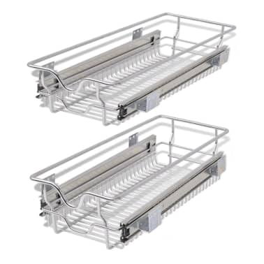 "vidaXL Pull-Out Wire Baskets 2 pcs Silver 11.8""[2/7]"
