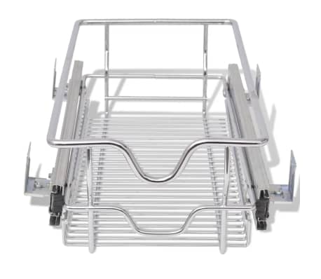 "vidaXL Pull-Out Wire Baskets 2 pcs Silver 11.8""[4/7]"
