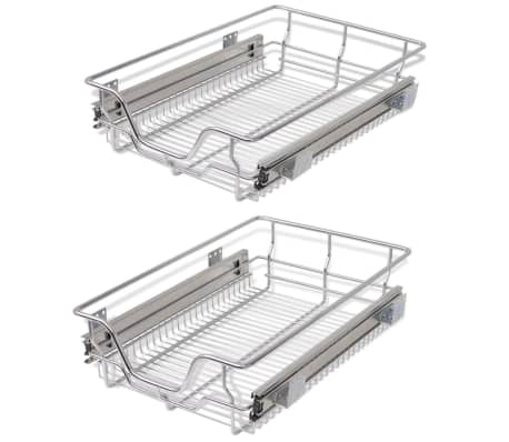 "vidaXL Pull-Out Wire Baskets 2 pcs Silver 15.7""[2/7]"