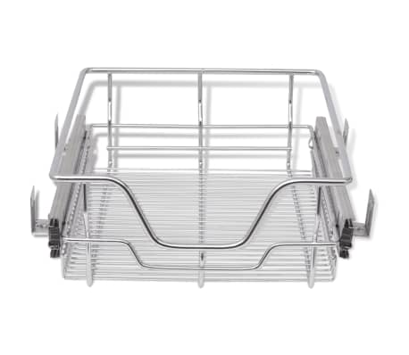 "vidaXL Pull-Out Wire Baskets 2 pcs Silver 15.7""[4/7]"