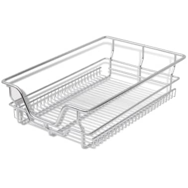 "vidaXL Pull-Out Wire Baskets 2 pcs Silver 15.7""[3/7]"