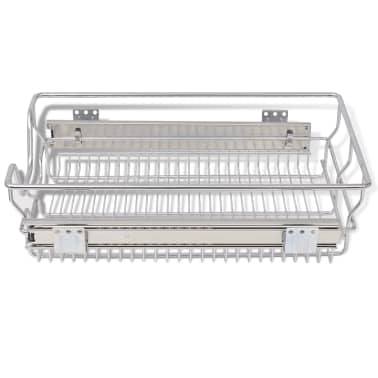 "vidaXL Pull-Out Wire Baskets 2 pcs Silver 15.7""[5/7]"