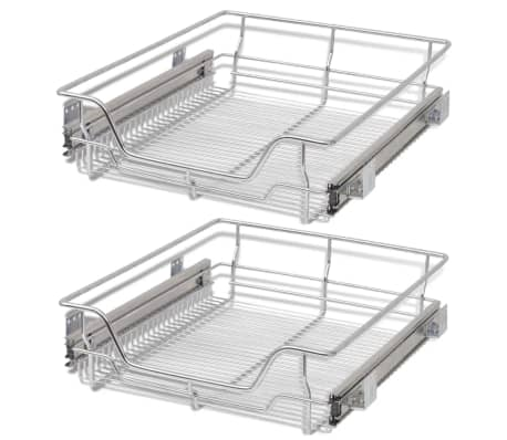 "vidaXL Pull-Out Wire Baskets 2 pcs Silver 19.7""[2/7]"
