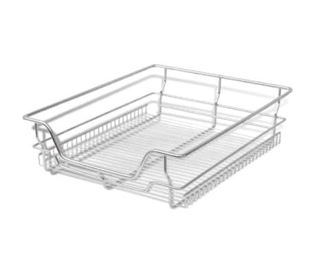 "vidaXL Pull-Out Wire Baskets 2 pcs Silver 19.7""[3/7]"