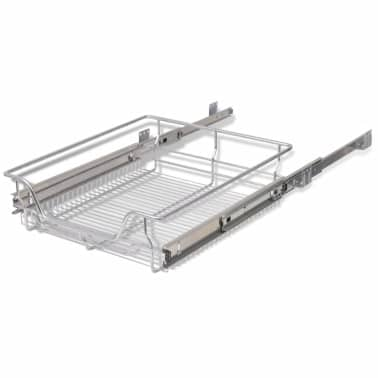"vidaXL Pull-Out Wire Baskets 2 pcs Silver 19.7""[6/7]"
