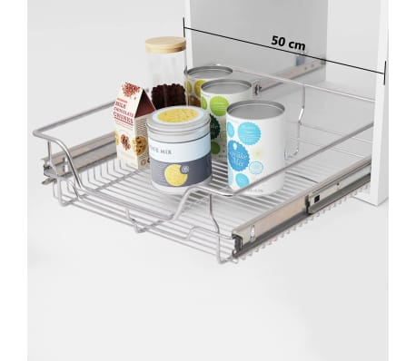 "vidaXL Pull-Out Wire Baskets 2 pcs Silver 19.7""[1/7]"