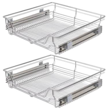 "vidaXL Pull-Out Wire Baskets 2 pcs Silver 23.6""[2/7]"