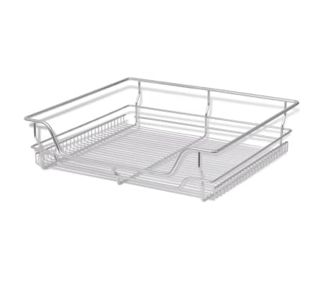 "vidaXL Pull-Out Wire Baskets 2 pcs Silver 23.6""[3/7]"