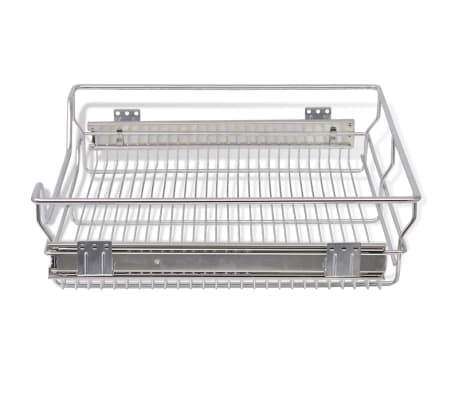 "vidaXL Pull-Out Wire Baskets 2 pcs Silver 23.6""[5/7]"